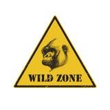 Sinal de aviso sinal de perigo com gorila EPS 8 ilustração royalty free