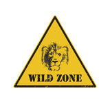 Sinal de aviso sinal de perigo com leão ilustração stock