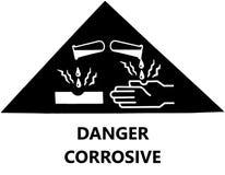 Sinal de aviso, substâncias químicas corrosivas ilustração stock