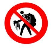 Sinal de aviso usado em praias italianas ou em áreas turísticas Não compre bens falsos dos vendedores desautorizados ilustração stock