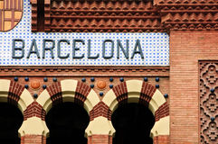 Sinal de Barcelona fotografia de stock