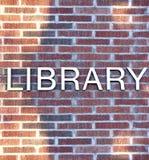 Sinal de biblioteca Fotos de Stock Royalty Free