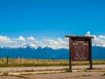 Sinal de Bison Refuge nacional Fotos de Stock Royalty Free