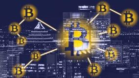"""Sinal de Bitcoin no †""""Montreal da cidade Bitcoin e techno do blockchain imagens de stock"""