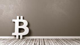 Sinal de Bitcoin no assoalho de madeira contra a parede Imagem de Stock Royalty Free