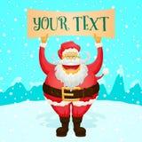 Sinal de Chubby Funny Santa Claus Holding Fotografia de Stock Royalty Free