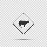 Sinal de cruzamento animal do símbolo no fundo transparente ilustração royalty free