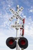 Sinal de cruzamento da estrada de ferro Fotografia de Stock Royalty Free