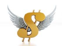 Sinal de dólar com asas Fotos de Stock Royalty Free