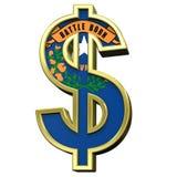 Sinal de dólar com a bandeira de Nevada isolada no branco. Fotos de Stock Royalty Free