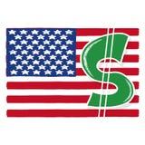 Sinal de dólar com ilustração da bandeira americana Fotos de Stock