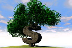 Sinal de dólar como uma árvore ilustração royalty free