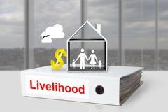 Sinal de dólar da casa familiar da subsistência da pasta do escritório Imagens de Stock Royalty Free