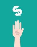 Sinal de dólar da mão Fotografia de Stock