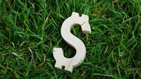 Sinal de dólar da madeira no fundo da grama Imagens de Stock