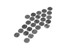 Sinal de dólar das moedas Fotografia de Stock Royalty Free