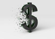 Sinal de dólar de explosão Fotografia de Stock Royalty Free