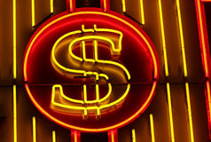 Sinal de dólar de néon imagem de stock