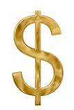 Sinal de dólar do ouro Foto de Stock