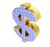 Sinal de dólar do painel solar Fotografia de Stock Royalty Free