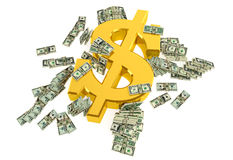 Sinal de dólar dourado Fotos de Stock Royalty Free