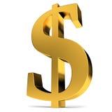 Sinal de dólar dourado Imagem de Stock