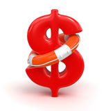 Sinal de dólar e boia salva-vidas (trajeto de grampeamento incluído) Imagens de Stock Royalty Free
