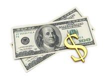 Sinal de dólar em dois cem notas de banco Fotografia de Stock