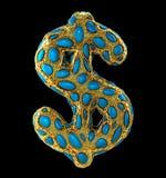 Sinal de dólar feito de 3D metálico de brilho dourado com o vidro azul isolado no fundo preto Imagens de Stock Royalty Free