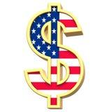 Sinal de dólar isolado no branco. Fotografia de Stock Royalty Free