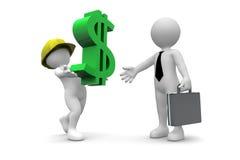 Sinal de dólar levando do trabalhador dirigir ilustração royalty free