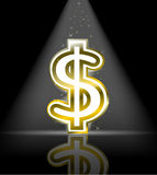 Sinal de dólar lustroso do ouro ilustração stock