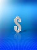 Sinal de dólar no fundo azul Foto de Stock Royalty Free