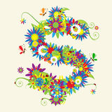 Sinal de dólar. Projeto floral Fotografia de Stock Royalty Free