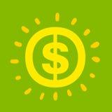 Sinal de dólar que shinning o amarelo brilhante Ilustração Stock
