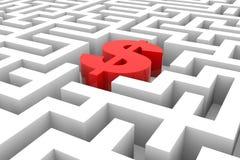 Sinal de dólar vermelho no labirinto. Fotos de Stock Royalty Free