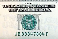 Sinal de dólar vinte na nota de dólar vinte, tiro macro rr Fotografia de Stock