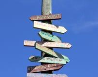Sinal de destino do turista de América do curso Fotografia de Stock Royalty Free