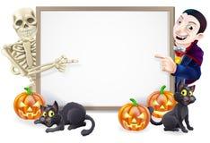 Sinal de Dia das Bruxas com esqueleto e Dracula Imagens de Stock Royalty Free
