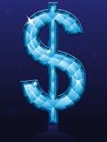 Sinal de dólar do diamante Fotografia de Stock Royalty Free