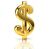 Sinal de dólar dourado no branco Fotografia de Stock Royalty Free