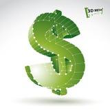 sinal de dólar à moda do verde da Web da malha 3d isolado no backgrou branco Fotos de Stock Royalty Free