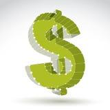 sinal de dólar à moda do verde da Web da malha 3d isolado no backgrou branco Fotografia de Stock