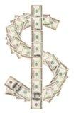 Sinal de Dollsar feito de cem dólares de notas de banco Imagens de Stock