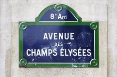 Sinal de Elysees dos campeões do DES da avenida Fotos de Stock