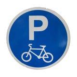 Sinal de estacionamento do s?mbolo da bicicleta isolado nos fundos brancos fotos de stock royalty free