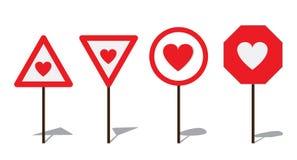 Sinal de estrada abstrato com coração Fotos de Stock