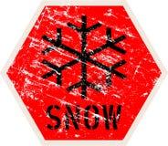 Sinal de estrada de advertência da neve, ilustração do vetor, ilustração royalty free