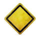 Sinal de estrada amarelo de Grunge com trajeto de grampeamento ilustração stock
