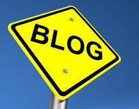 Sinal de estrada amarelo do blogue Foto de Stock